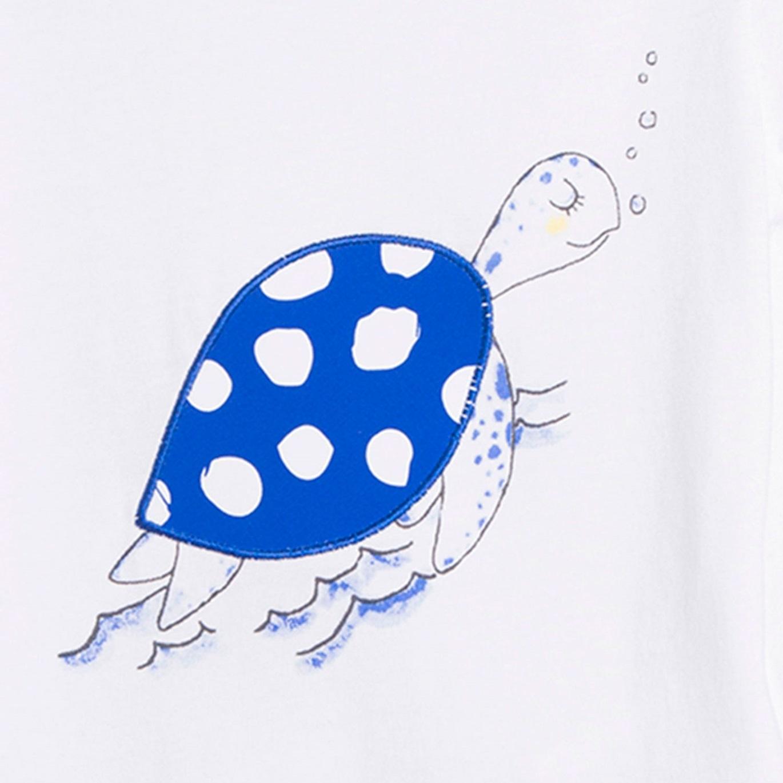 Imagen de Camiseta de bebé niño en blanco con print tortuga