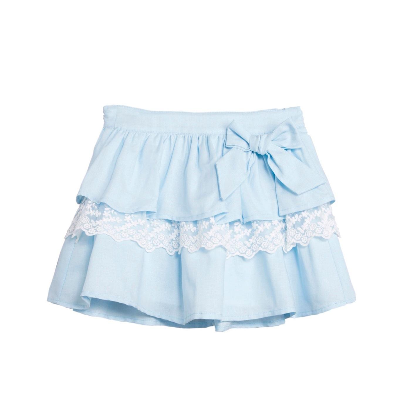 Imagen de Falda de niña en azul claro con encaje