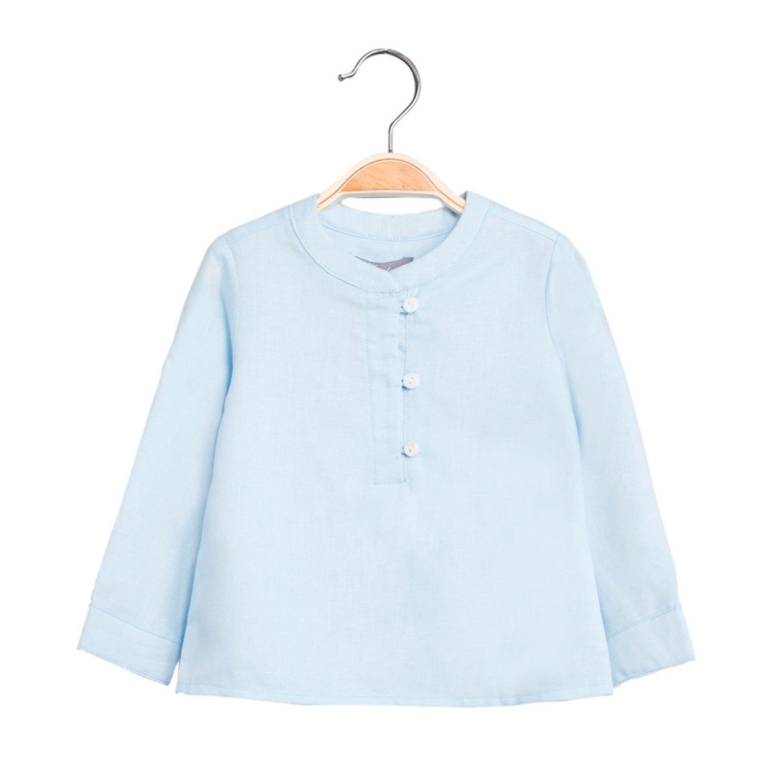 Image sur Camisa de bebé niño en azul claro y manga larga