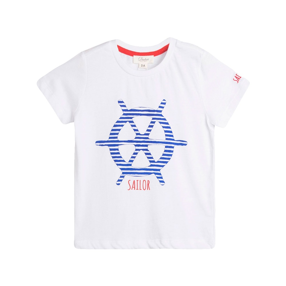 Imagen de Camiseta de niño en blanco con print marinero