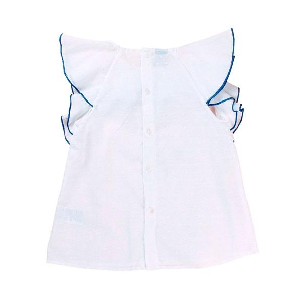 Imagen de Blusa de niña en blanco con volante ribeteado