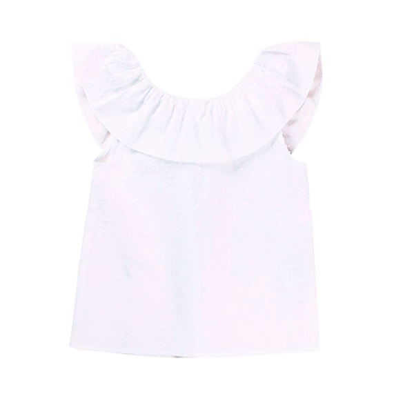 Imagen de Blusa de niña plumeti en blanco con volante