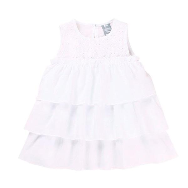 Picture of Vestido de bebé niña en blanco con volantes