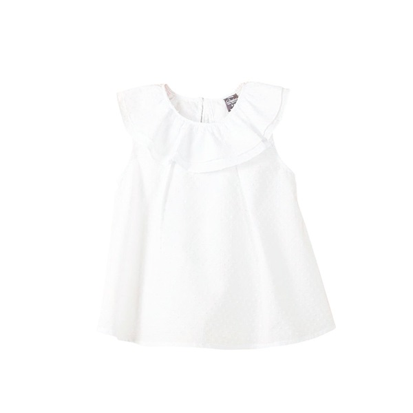 Image de Blusa de bebé niña plumeti en blanco