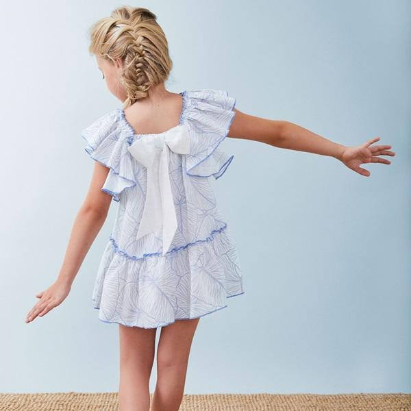 Image de Vestido de niña estampado con volantes
