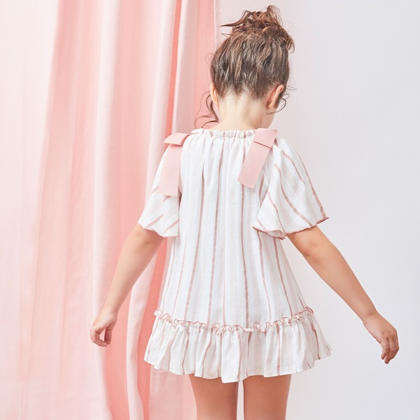 Image de Vestido de niña de rayas con lazos