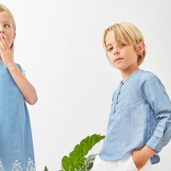 Picture of Camisa de niño en azul jaspeado y manga larga
