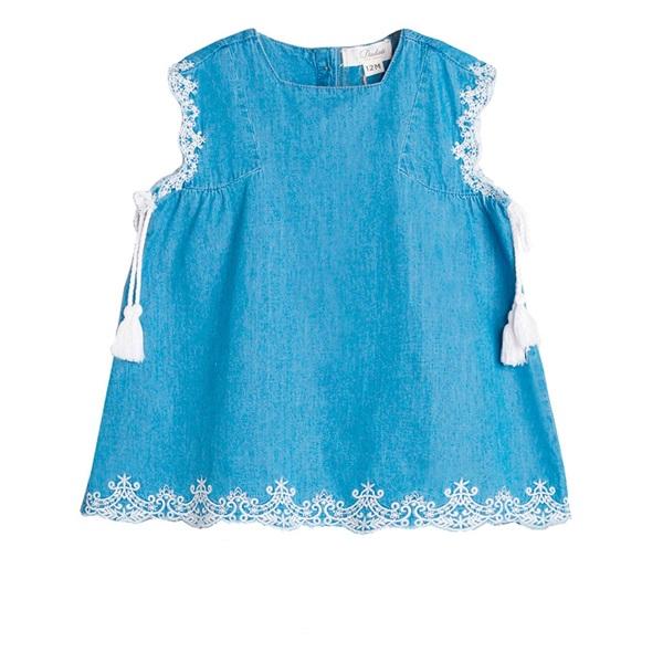 Image de Vestido de bebé niña en denim bordado