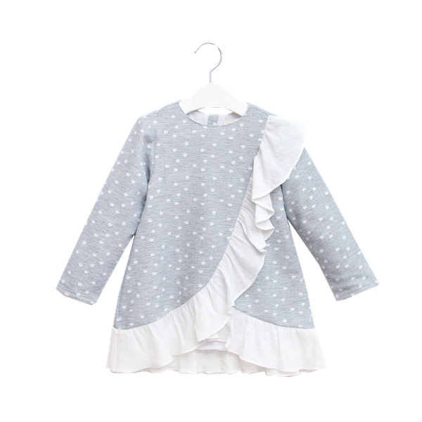 Picture of Vestido junior niña gris topos
