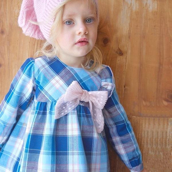Image de vestido bebé niña cuadros turquesa-rosa