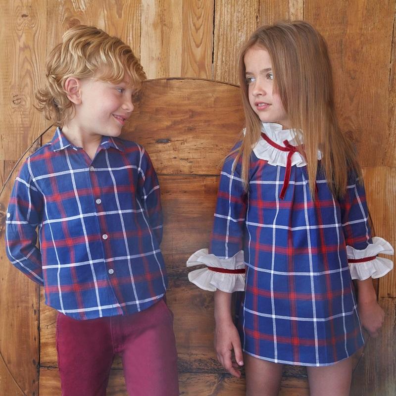Imagen de Vestido junior cuadros azules marsella