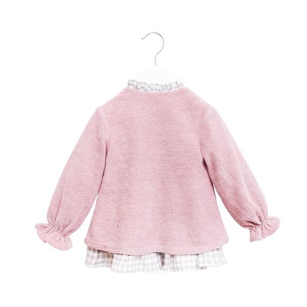 Imagen de Vestido BB chenilla rosa volantes espalda