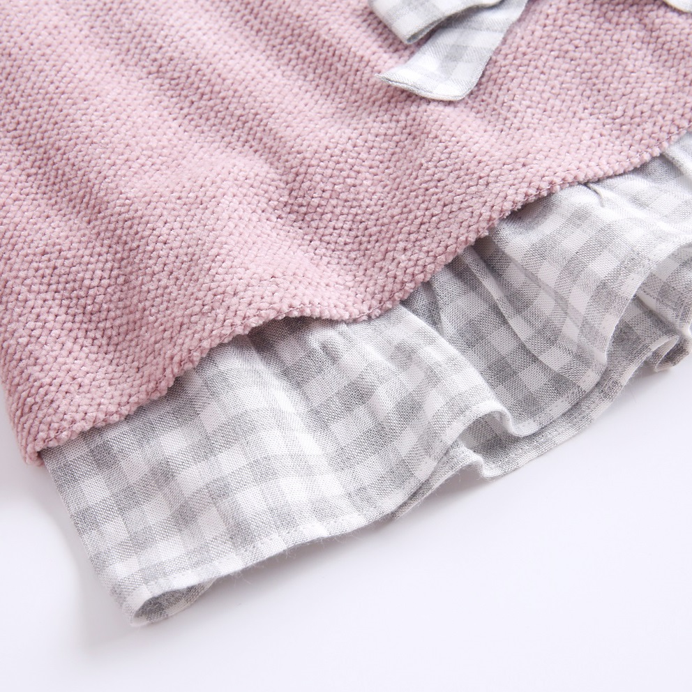 Image sur Vestido junior chenilla rosa volantes espalda