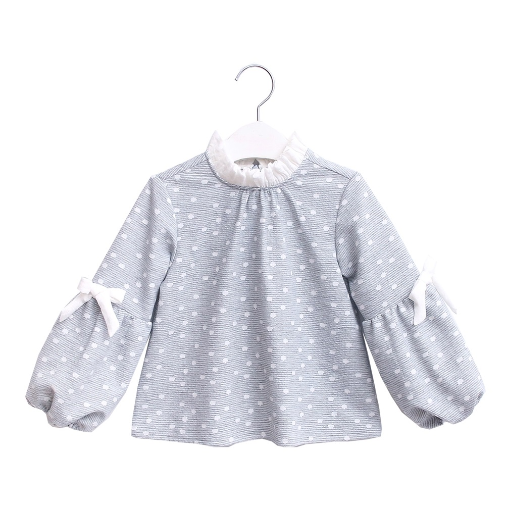 Picture of Sudadera junior niña gris topos