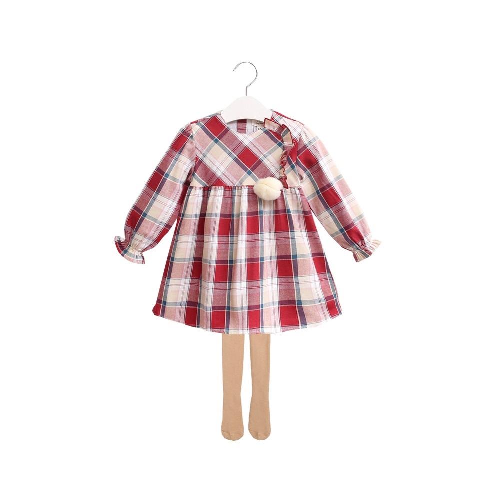 Picture of vestido de cuadros granates con pompon de pelo