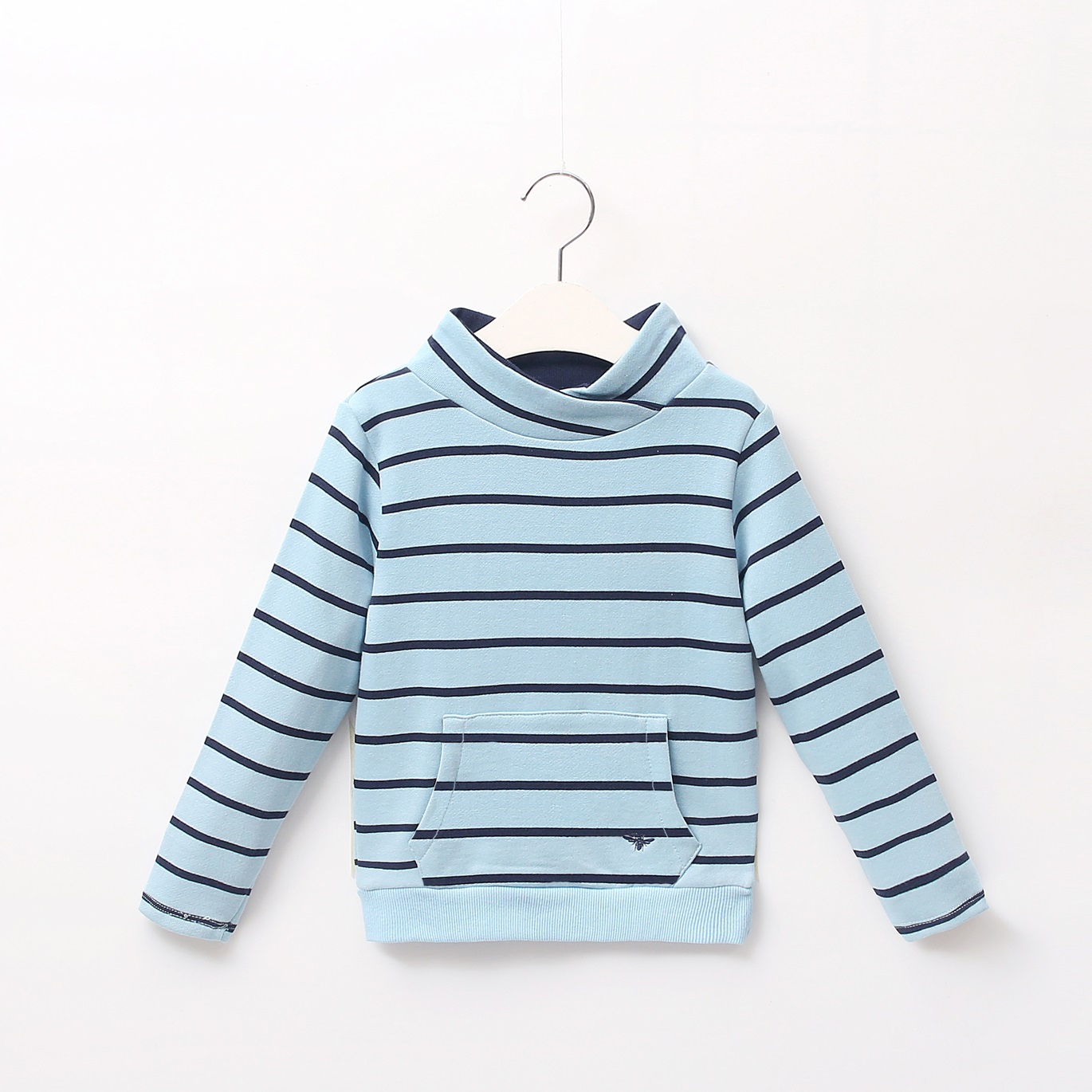 Picture of Sudadera junior bolsillo rayas turquesa