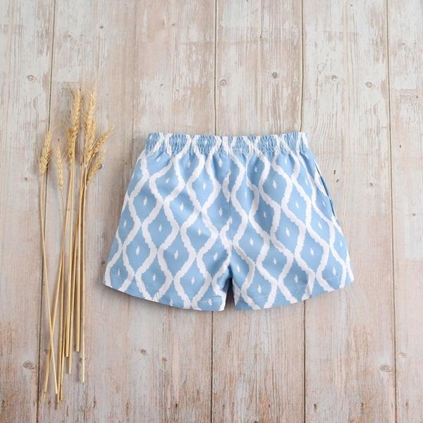 Image de Bañador niño azul con estampado de rombos blancos