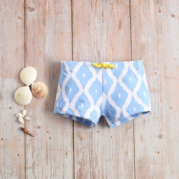 Image de Bóxer bebé azul con estampado de rombos blancos