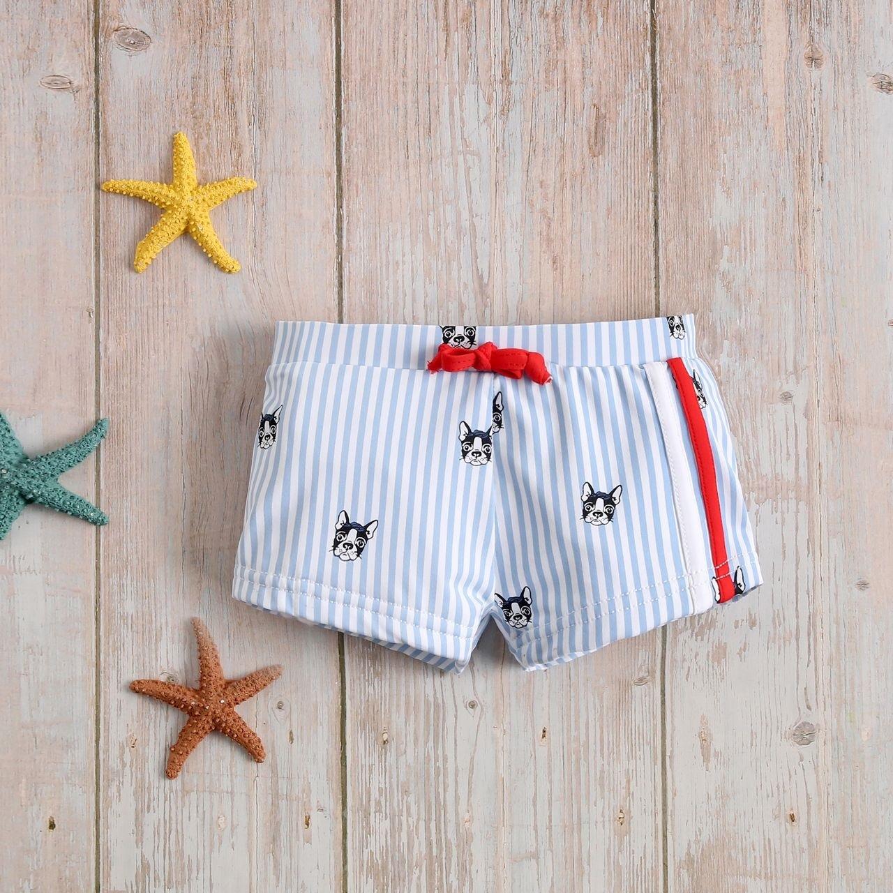 Imagen de Bóxer bebé de perritos y rayas azules y blancas