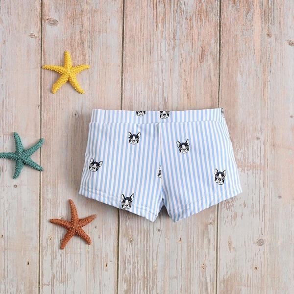 Image de Bóxer bebé de perritos y rayas azules y blancas