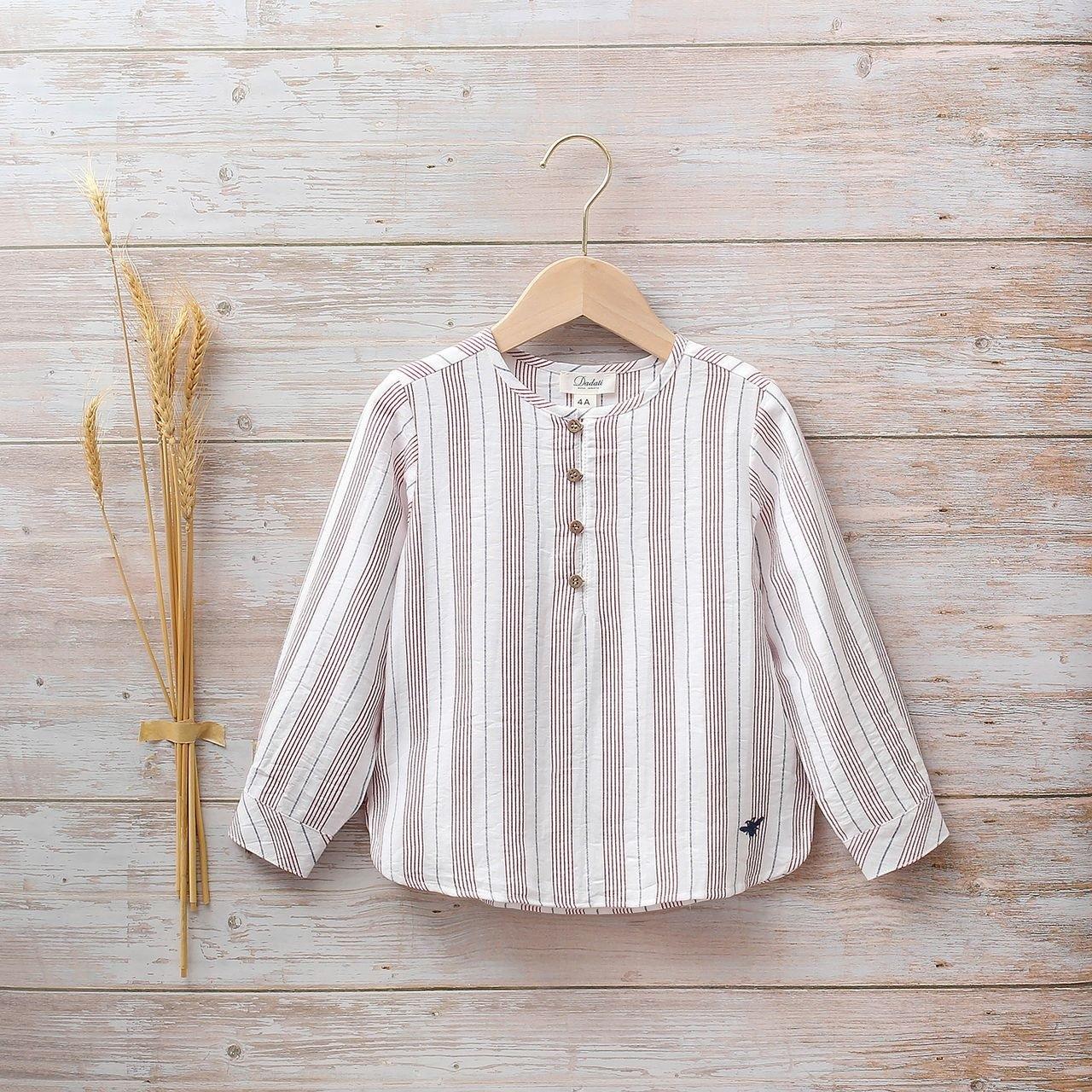 Image sur Camisa niño rayas cuello mao
