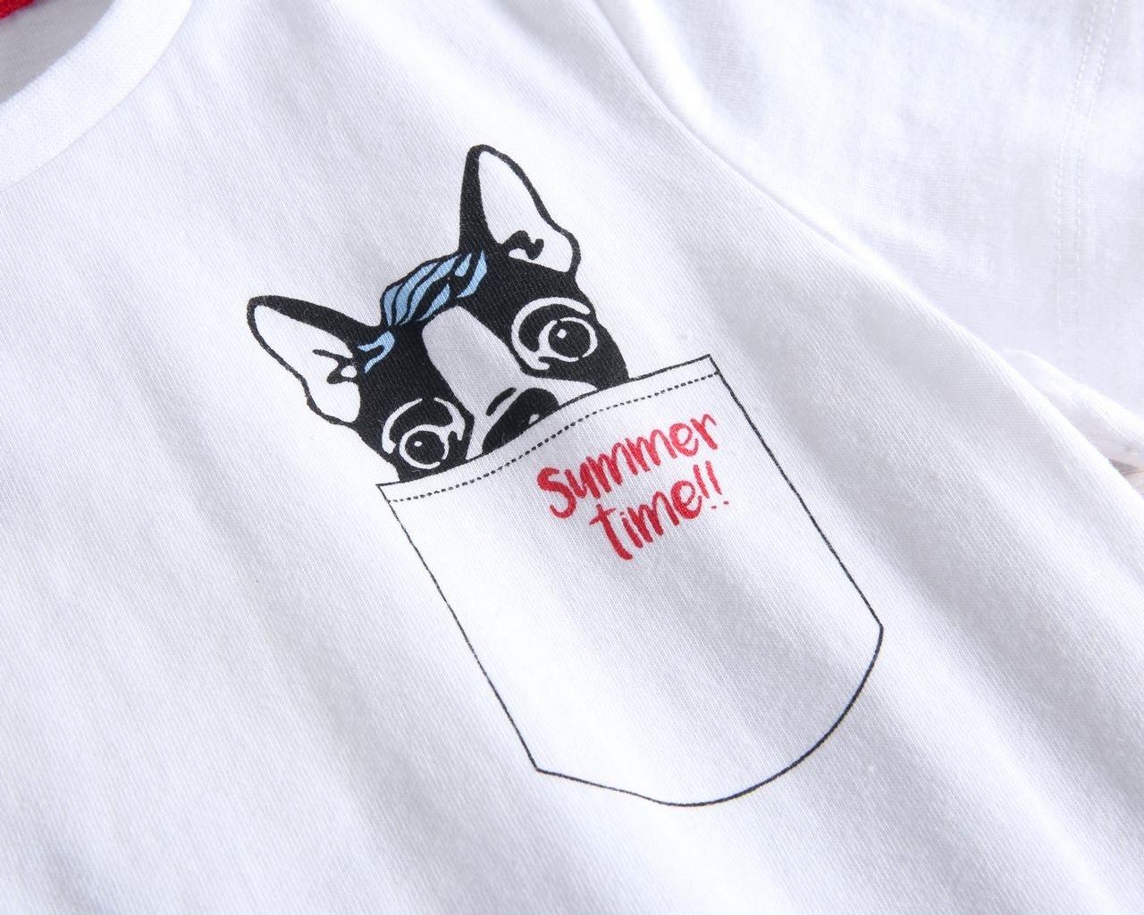 Image sur Camiseta bebé blanca con estampado de perritos y huellas
