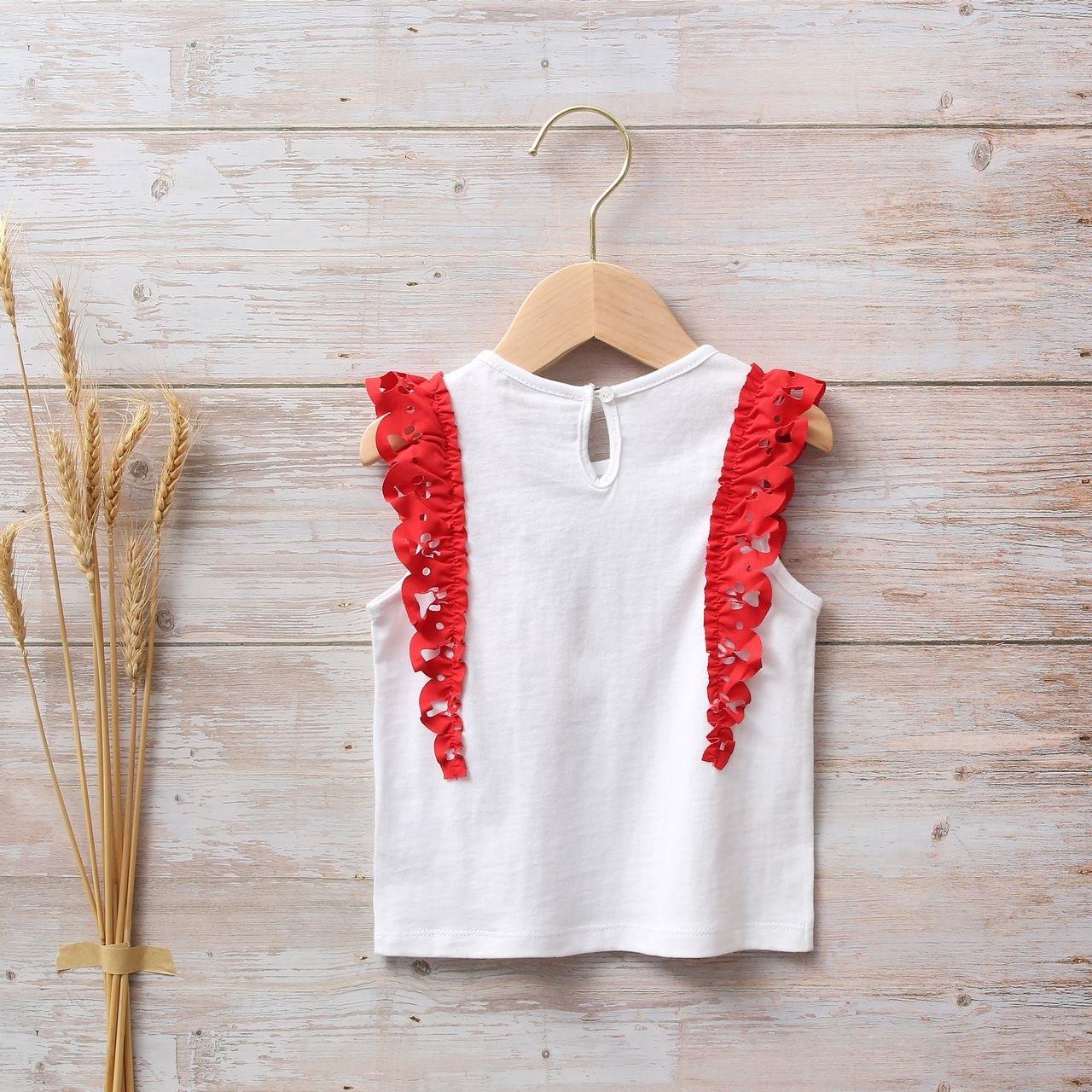 Image sur Camiseta blanca de bebé niña con volantes rojos en hombros y estampado perrito