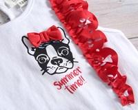 Image de Camiseta blanca de bebé niña con volantes rojos en hombros y estampado perrito