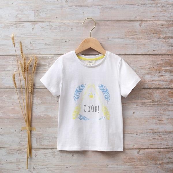 Image de Camiseta niño blanca con estampado étnico