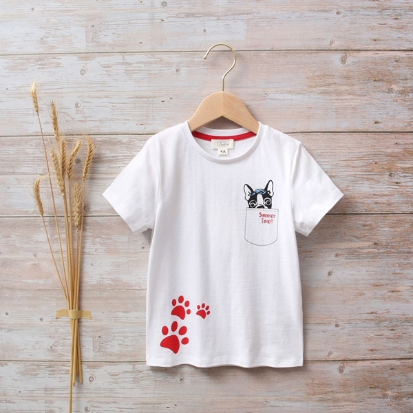 Picture of Camiseta unisex junior con estampado de perritos y huellas