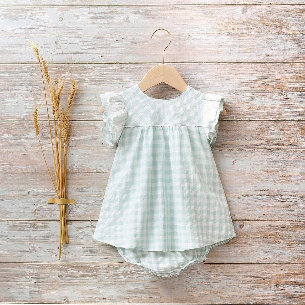 Picture of Conjunto bebé niña cuadros verdes