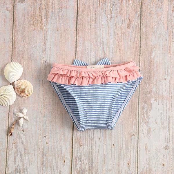 Imagen de Culetín bebé niña de rayas azules y blancas