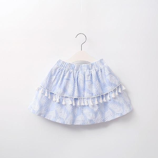Image de Falda niña paradise azul con hojas blancas
