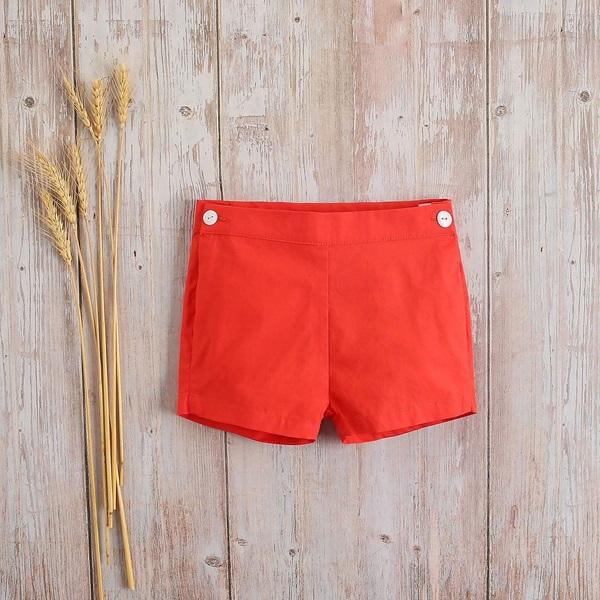 Image de Short bebé náutica rojo con botones