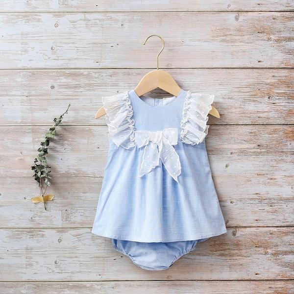 Imagen de Vestido bebé azahar con lazo y volantes