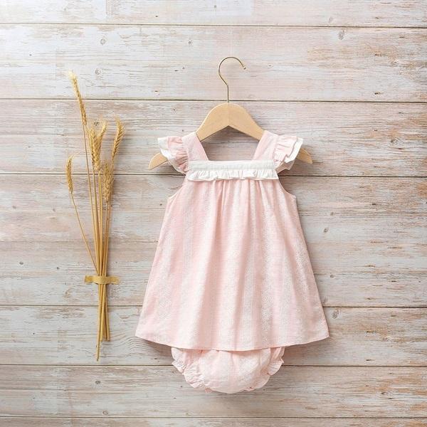Image de Vestido bebé Azalea rosa de flores con volante blanco