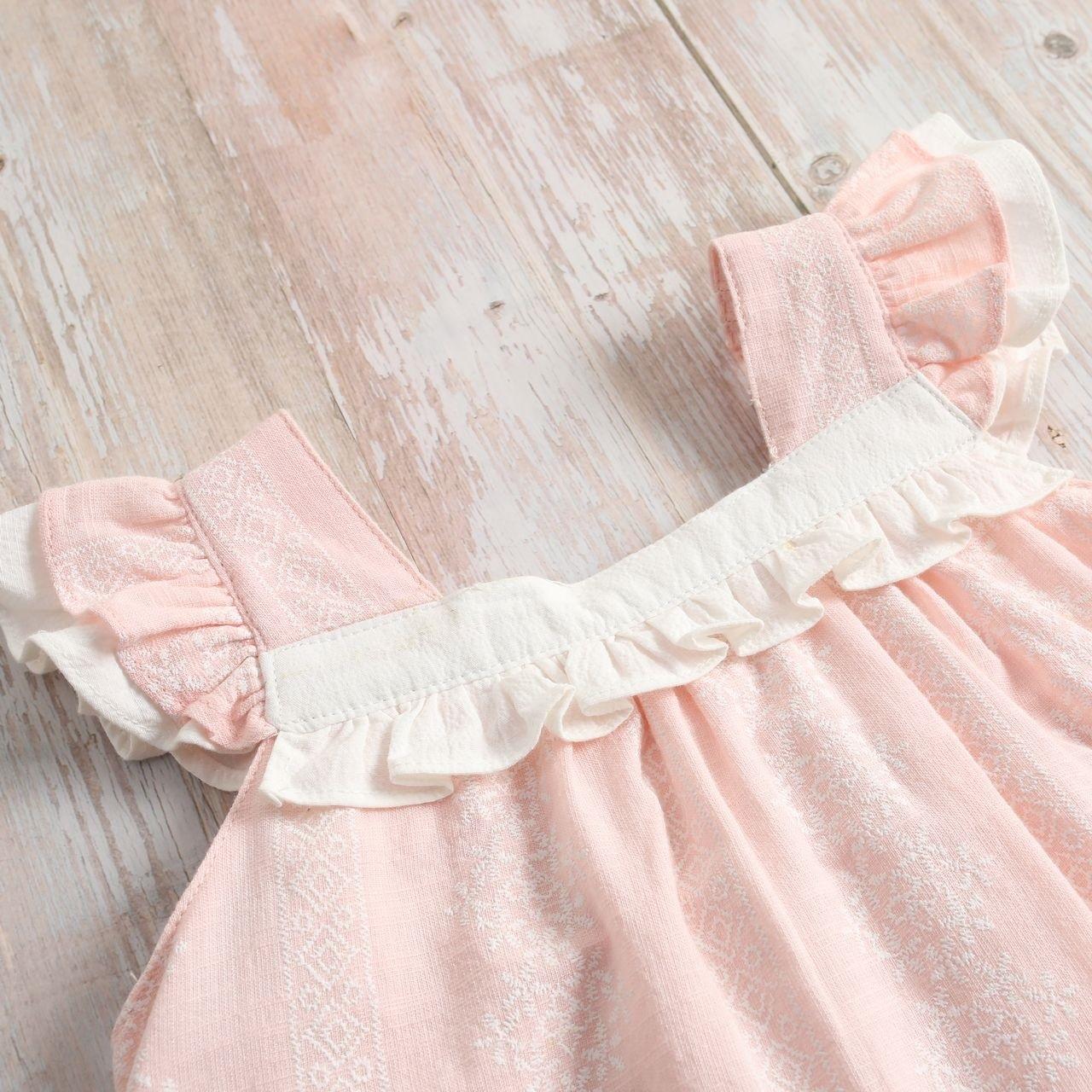 Imagen de Vestido bebé Azalea rosa de flores con volante blanco