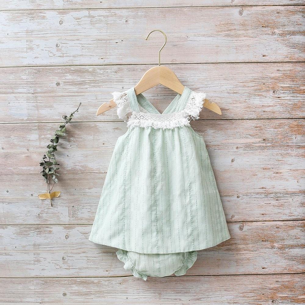 Imagen de Vestido bebé Boho verde con flecos