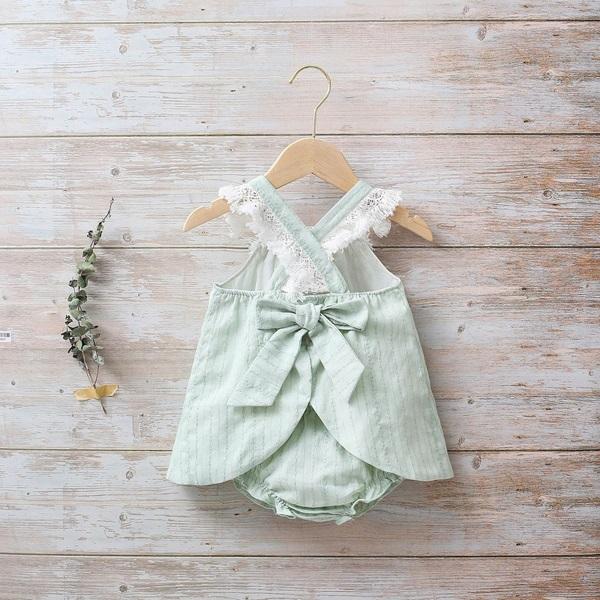 Image de Vestido bebé Boho verde con flecos