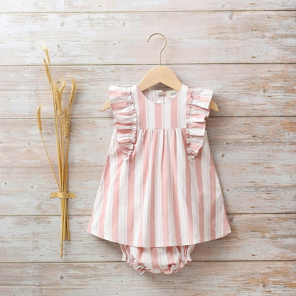 Image de Vestido bebé Cosmos de rayas rosas y blancas con volantes