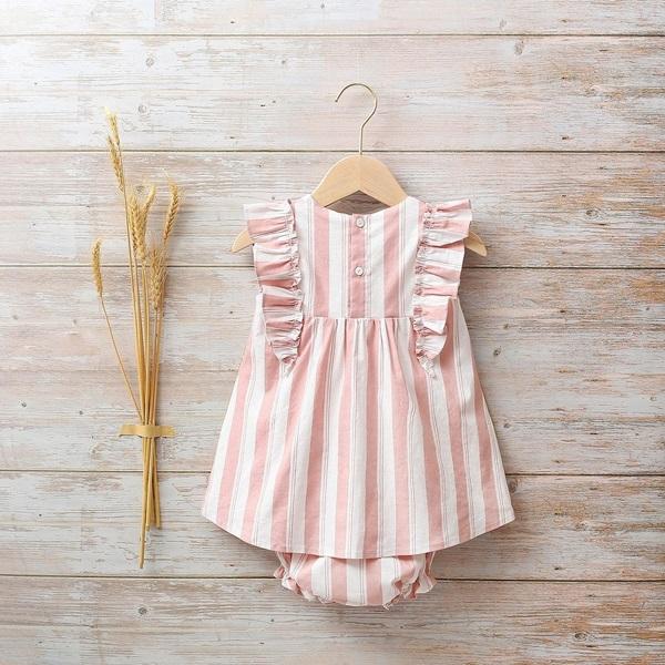 Picture of Vestido bebé Cosmos de rayas rosas y blancas con volantes
