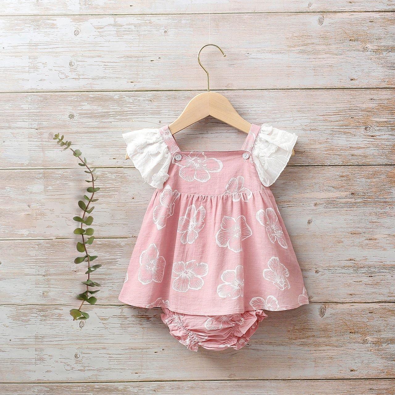 Image sur Vestido bebé Dalía rosa de flores tipo peto