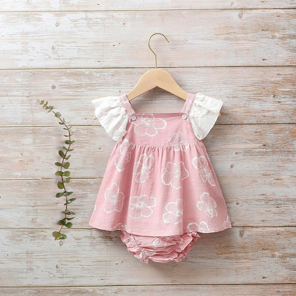 Image de Vestido bebé Dalía rosa de flores tipo peto