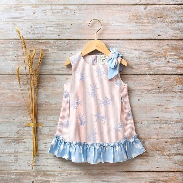 Image de Vestido bebé Hortensia de rayas y lunares con lazo