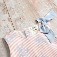 Imagen de Vestido bebé Hortensia de rayas y lunares con lazo