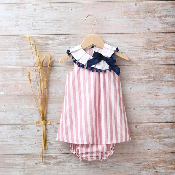 Image de Vestido bebé Náutica de rayas rojo