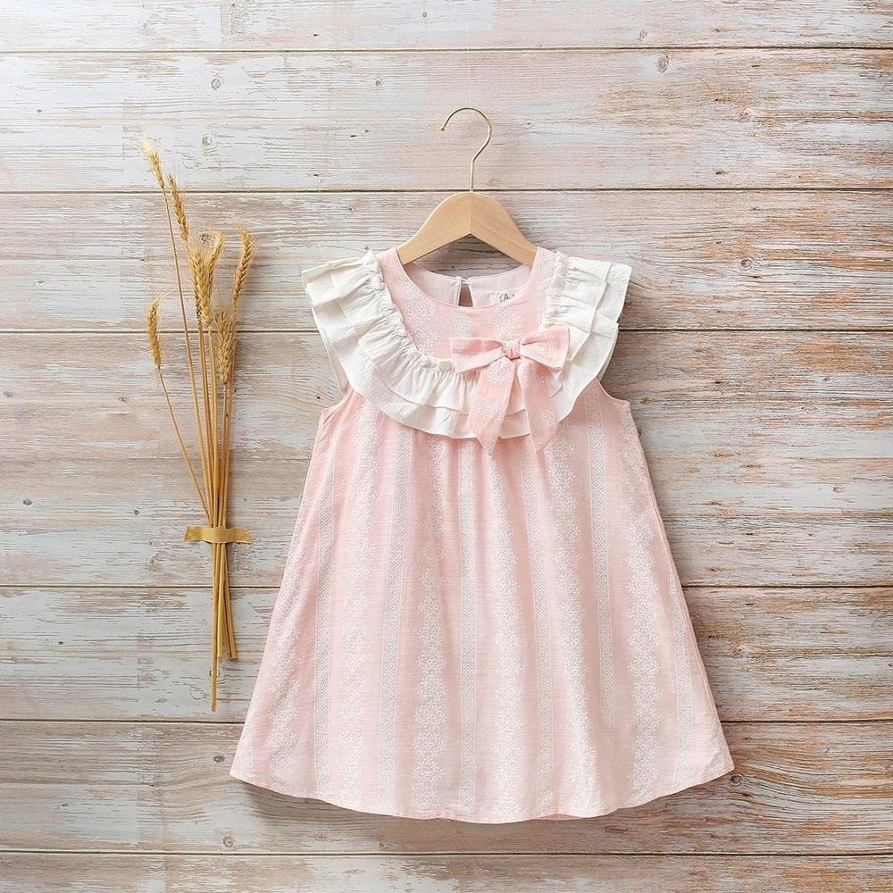 Imagen de Vestido niña azalea rosa de flores con volantes