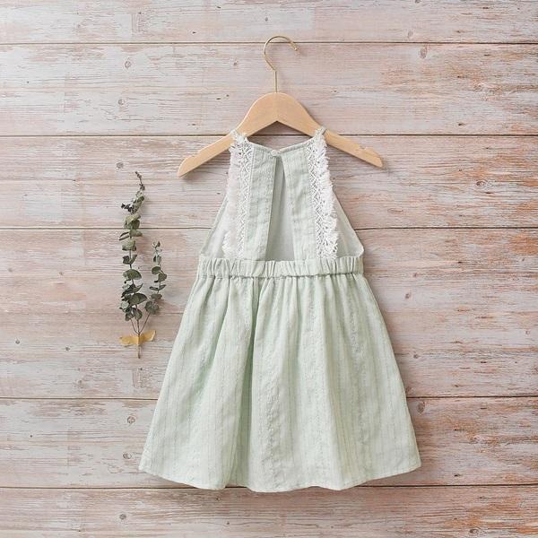 Imagen de Vestido niña boho verde con flecos