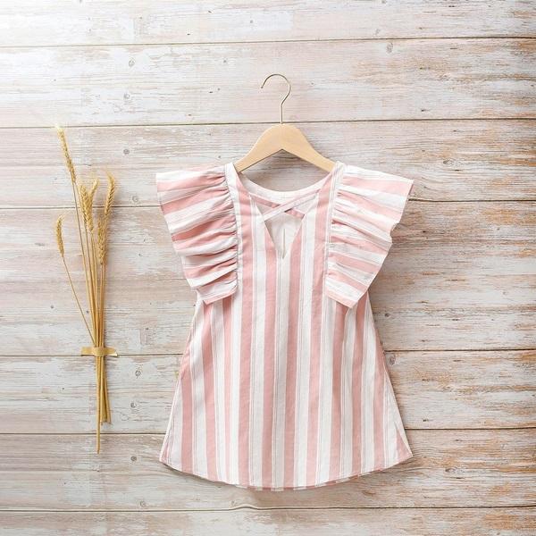 Imagen de Vestido niña cosmos de rayas rosas y blancas con volantes