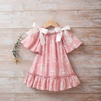 Image de Vestido niña dalia rosa de flores con manga murciélago y lazos en hombro